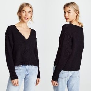 Free People Coco Black Cotton V-Neck Knit Sweater